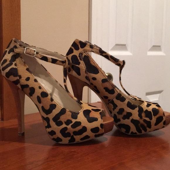 Leopard Print Peep Toe Heels